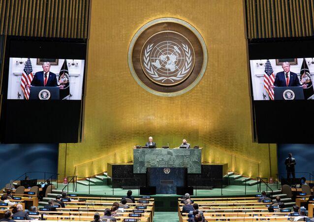 ABD Başkanı Donald Trump'ın koronavirüs pandemisi nedeniyle sanal düzenlenen 75. BM Genel Kurulu'na video kaydıyla hitabı