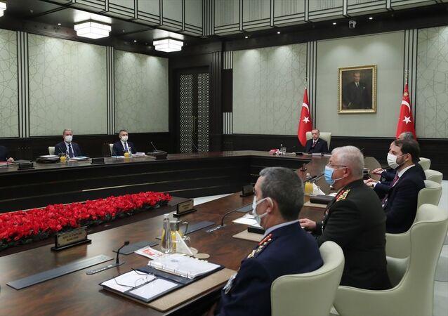 Milli Güvenlik Kurulu (MGK), Cumhurbaşkanı Recep Tayyip Erdoğan başkanlığında Cumhurbaşkanlığı Külliyesi'nde toplandı.