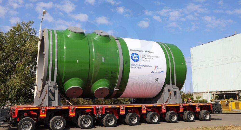 Akkuyu Nükleer Güç Santrali'nin yapımı süren 1 no'lu güç ünitesi için üretilen reaktör kabı