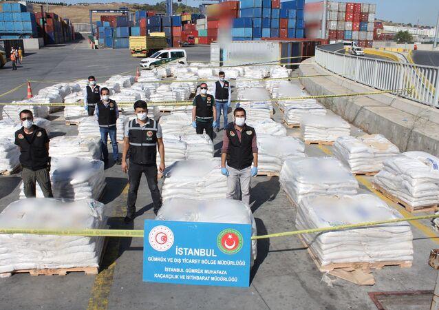gübre çuvallarına gizlenmiş 228 kilo kokain, İstanbul Ambarlı Limanı