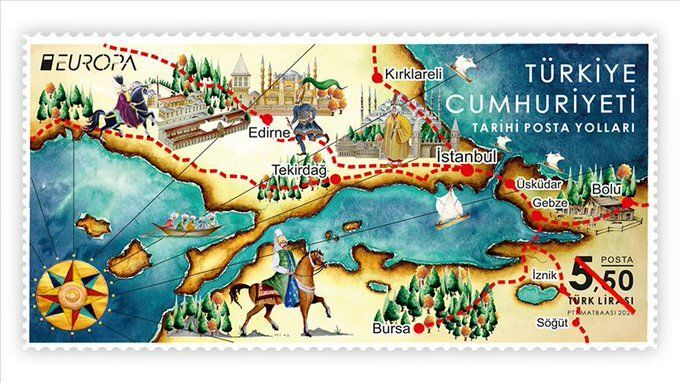 'Tarihi Posta Yolları' temalı pul PTT'ye Avrupa'da birincilik getirdi