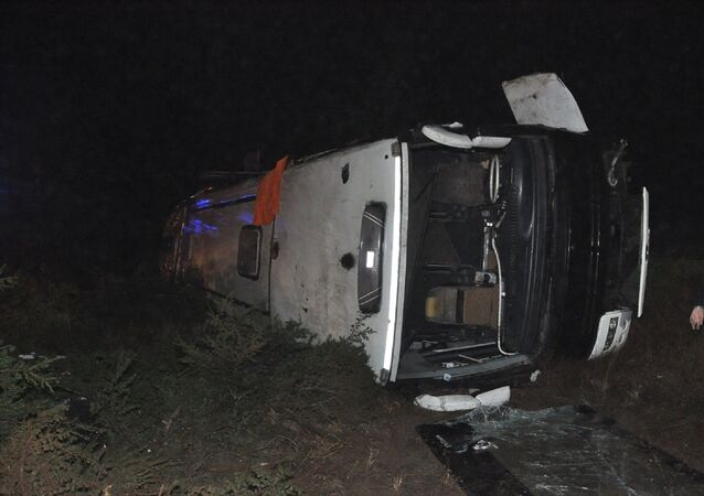 Eskişehir'de yolcu otobüsünün devrilmesi sonucu 3 kişi yaralandı.