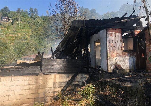Rize'nin Çayeli ilçesinde çıkan yangında bir ev kullanılamaz hale geldi, 12 kovan arı da yandı.