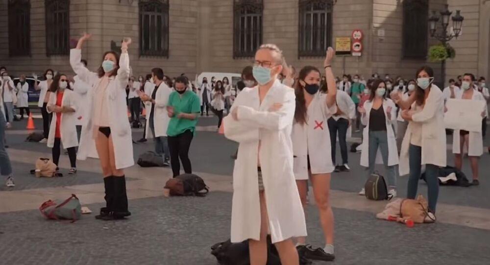 Sağlık çalışanları protestosu, Barselona, İspanya