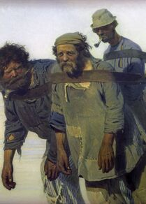 Volga Kıyısında Burlaklar tablosu. 1870-1873 yılları.  Ressam İlya Repin