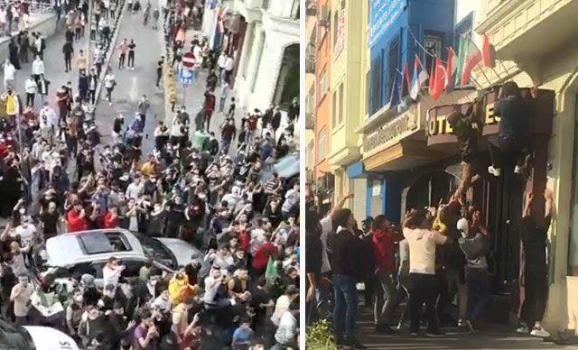İstanbul'daki Suriyeliler'den oluşan kalabalık bir grup, Fatihİskenderpaşa Mahallesi, Ahmediye Caddesi'nde öğle saatlerinde toplanarak bir süreFransaaleyhine slogan attı.