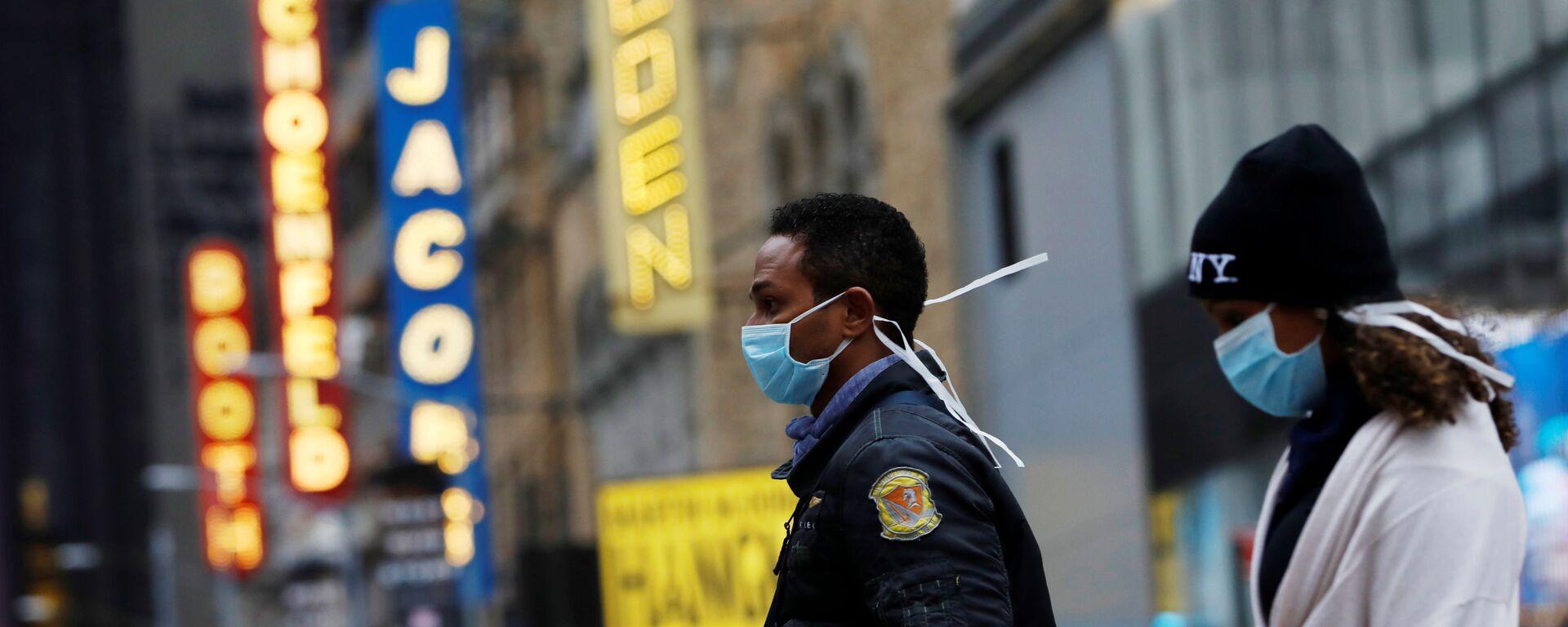 ABD - New York + Manhattan - maske  - koronavirüs - Sputnik Türkiye, 1920, 13.05.2021