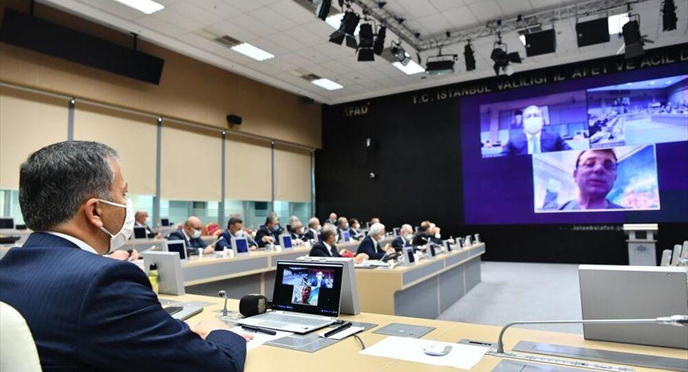 İstanbul İl Pandemi Kurulu Toplantısı İstanbul Valisi Ali Yerlikaya başkanlığında, Afet ve Acil Durum (AFAD) Müdürlüğü Hasdal Yerleşkesi'nde yapıldı.