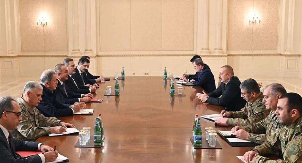 Azerbaycan Cumhurbaşkanı Aliyev, Çavuşoğlu, Akar, Dündar ve Fidan'ı kabul etti