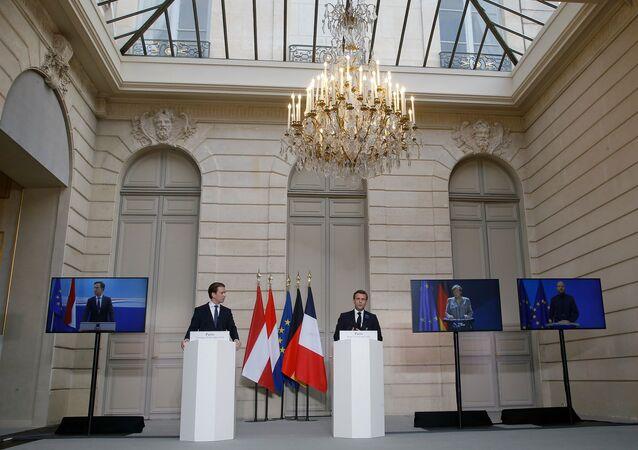 Fransa Cumhurbaşkanı Emmanuel Macron, Almanya Başbakanı Angela Merkel, Avusturya Başbakanı Sebastian Kurz, Hollanda Başbakanı Mark Rutte ile AB Konseyi Başkanı Charles Michel ve