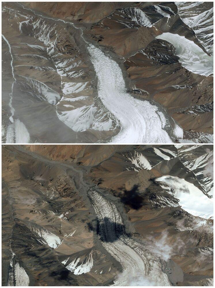 """Buzul izleme istasyonunun yöneticisi Qin Xiang, Reuters'a yaptığı açıklamada, """"Sıcaklıklar artmasıyla yaklaşık 13 metre uzunluğunda bir buz ve genel olarak buzul kalınlığından endişe verici bir kayıp yaşandı. Bu buzulun küçülme hızı gerçekten şok edici"""" ifadelerini kullandı. Fotoğrafta: Laohugou No. 12 buzulunun 2018'de çekilen uygu görüntüsü (üstteki) ve 2020 yılına ait fotoğrafı (alttaki)"""