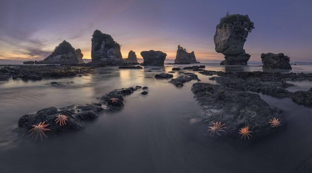 Uluslararası 2020 Yılı Manzara Fotoğrafçısı Yarışması'nın (ILPOTY 2020) ilk 101 çalışması listesine giren Rus fotoğrafçı Sergey Aleshchenko'nun Yeni Zelanda'daki Motukiekie Sahili'nde çektiği kare