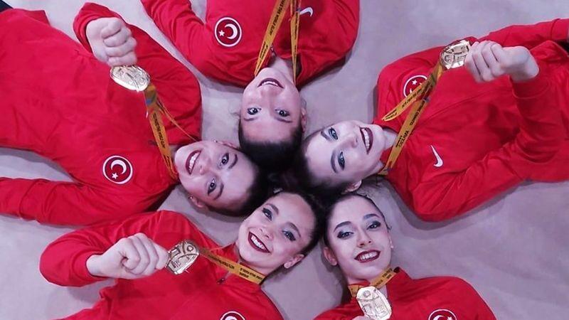 Türkiye'nin Kadın Ritmik Cimnastik Grup Milli Takımı, '3 çember 2 labut' aletinde Avrupa şampiyonu oldu.