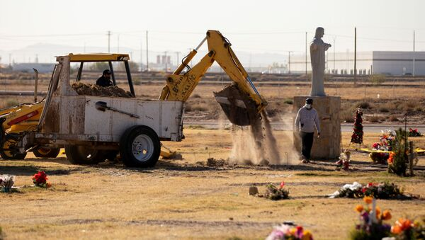 ABD'nin Teksas eyaletinin El Paso kentinde Kovid-19 pandemisinde ölenler için vinçle mezar kazılırken - Sputnik Türkiye