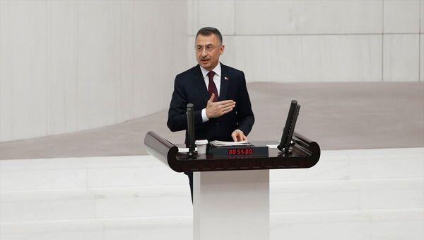 2021 Yılı Merkezi Yönetim Bütçe Kanunu Teklifi, TBMM Genel Kurulu'nda görüşülmeye başladı. Görüşmelere katılan Cumhurbaşkanı Yardımcısı Fuat Oktay, konuşma yaptı. - Sputnik Türkiye
