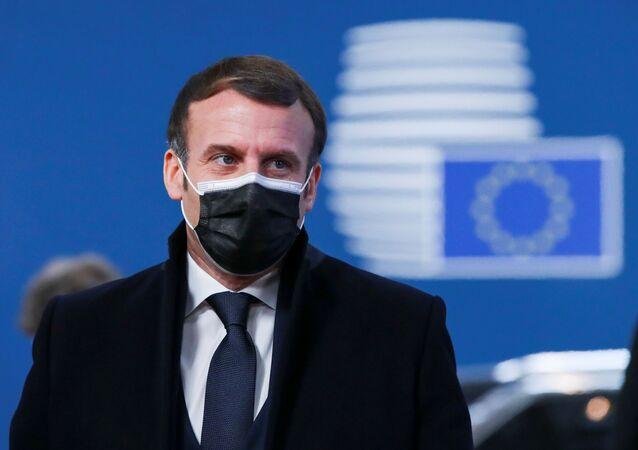 Fransa Cumhurbaşkanı Emmanuel Macron, Brüksel'in evsahipliğindeki 10-11 Aralık 2020 AB liderler zirvesine varırken