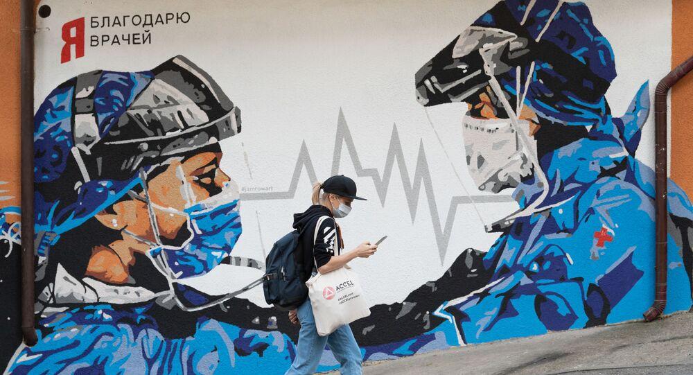doktor, grafiti, koronavirüs, Soçi, Rusya