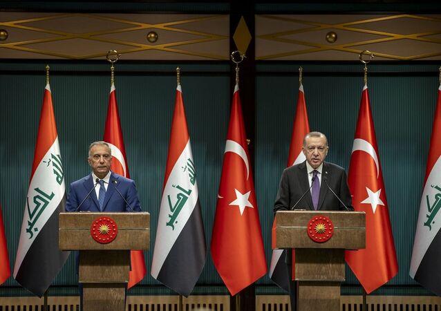 Cumhurbaşkanı Recep Tayyip Erdoğan, Cumhurbaşkanlığı Külliyesi'nde Irak Başbakanı Mustafa Kazımi