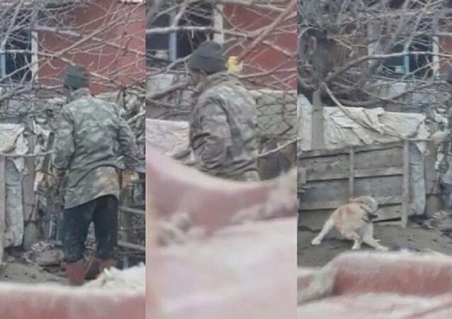 Köpeği sopayla döverken görüntülendi