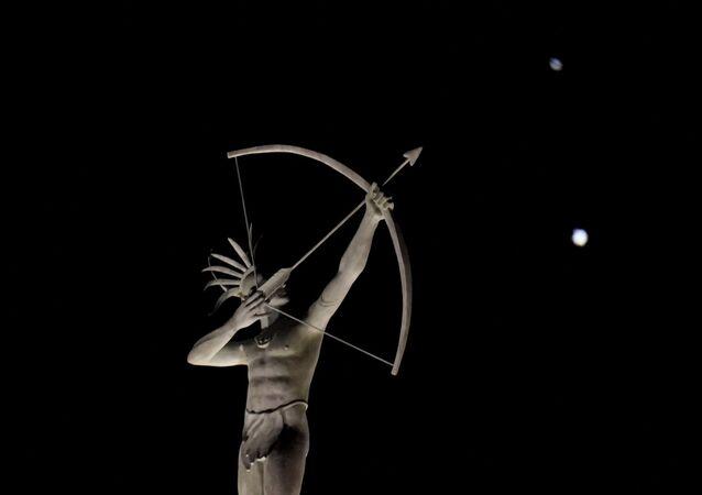 ABD - Kansas Eyaleti - Satürn (yukarıda) Jüpiter (aşağıda) 9 Aralık gecesi