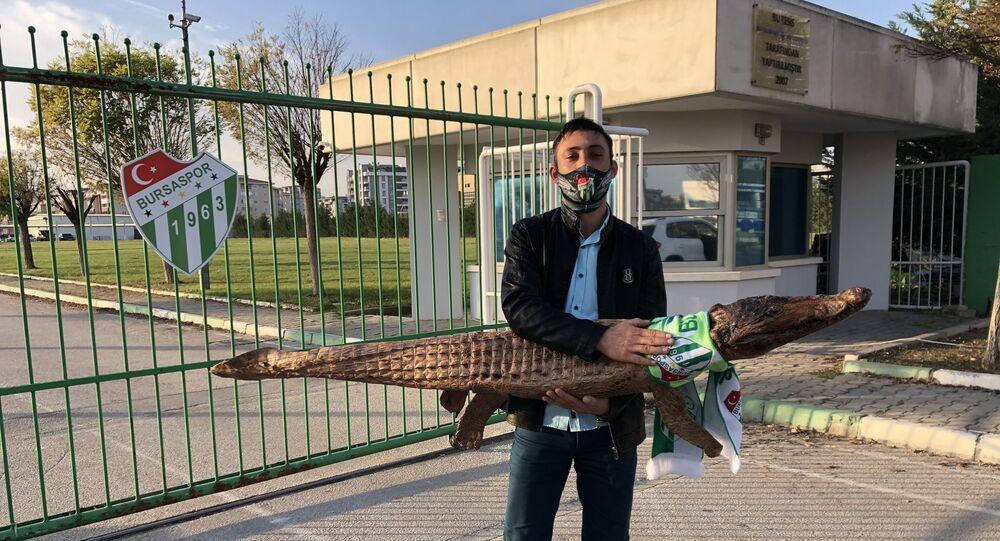 Bir Bursaspor taraftarı, Sudan'dan aldığı içi doldurulmuş gerçek bir timsahı, Özlüce İbrahim Yazıcı Tesisleri'ne getirdi.