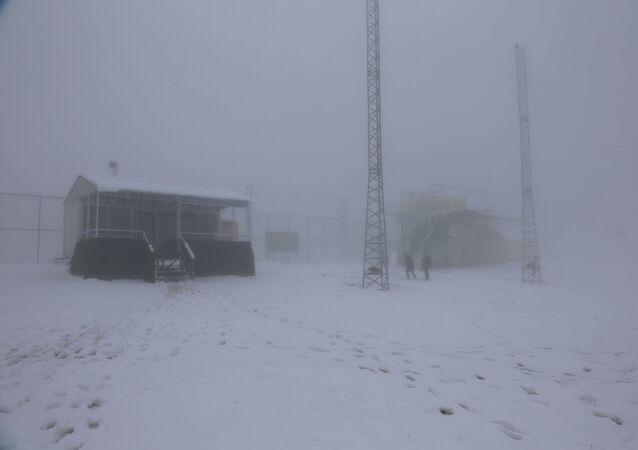 Kocaeli'nin Kartepe ilçesi sınırları ilçesinde bulunan Samanlı Dağları'nda yağan kar