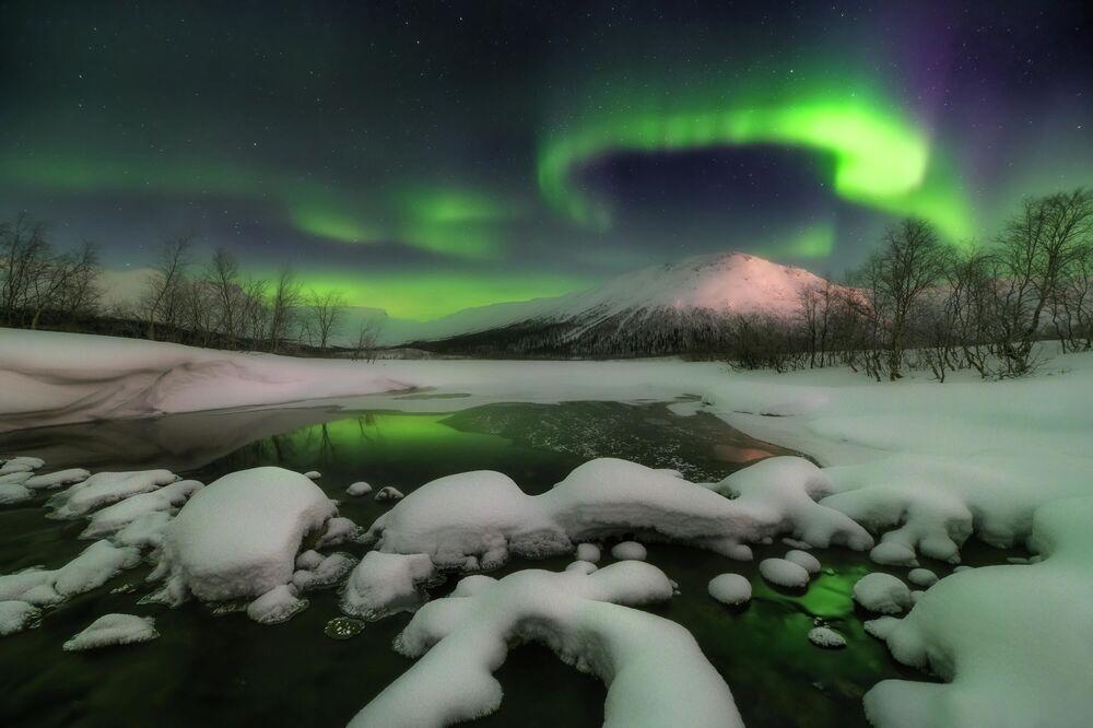 Kuzeyde bir gece Murmansk bölgesi, Kirovsk kenti
