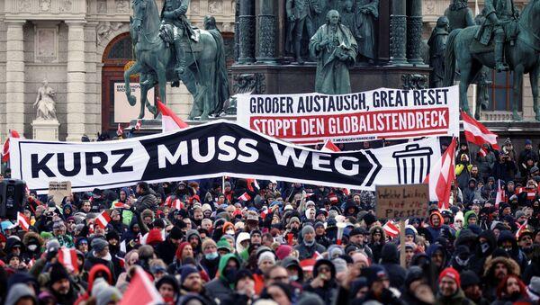 Avusturya'da binlerce gösterici Kovid-19 önlemlerini protesto etti - Sputnik Türkiye