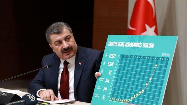 Fahrettin Koca ve koronavis tablosu - Sputnik Türkiye