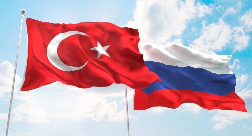 Rusya Türkiye bayrakları