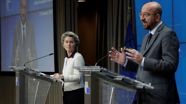 AB Konseyi Başkanı Charles Michel, AB Komisyonu Başkanı Ursula von derLeyen - Sputnik Türkiye