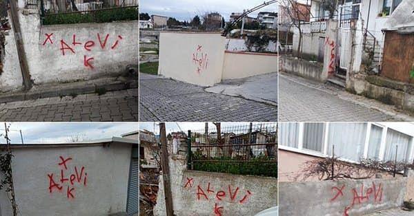 Yalova'da bazı evlerinin duvarlarına 'Alevi K' şeklinde yazı yazılmasıyla ilgili soruşturma başlatıldığı bildirildi.
