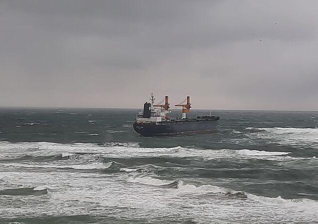 Kargo gemisi Beykoz açıklarında karaya oturdu
