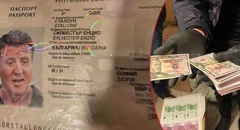 Bulgaristan'da çökertilen kalpazanlık çetesinin hazırladığı sahte evrakların arasında Rambo filmiyle ün kazanan Hollywood yıldızı Sylvester Stallone adına düzenlenen sahte turistik pasaport bulundu.