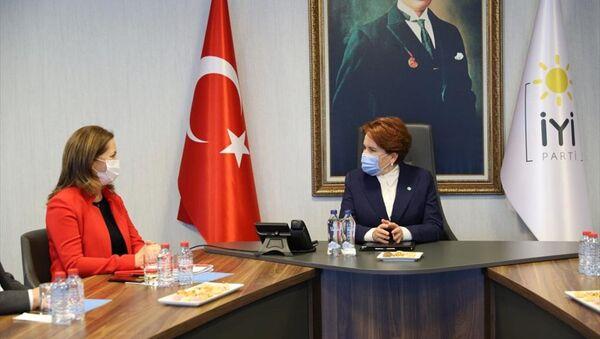DİSK Genel Başkanı Arzu Çerkezoğlu ve beraberindeki heyet, İYİ Parti Genel Başkanı Meral Akşener'i ziyaret etti. - Sputnik Türkiye