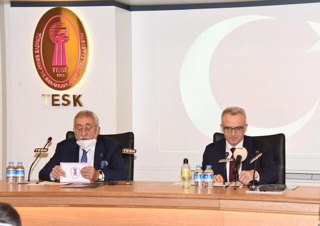 TCMB Başkanı Ağbal, TESK Başkanı Palandöken'i ziyaret etti.