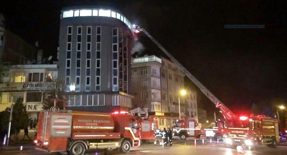 Aksaray'da 6 katlı otelde yangın