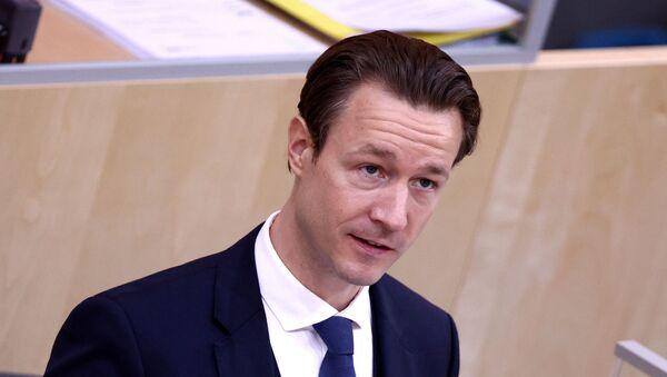 GernotBlümel (Bluemel) parlamentoda bütçe konuşması yaparken, Viyana, Avusturya - Sputnik Türkiye