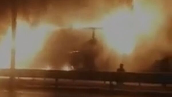 Kimyasal madde yüklü kamyon alev alev yandı - Sputnik Türkiye