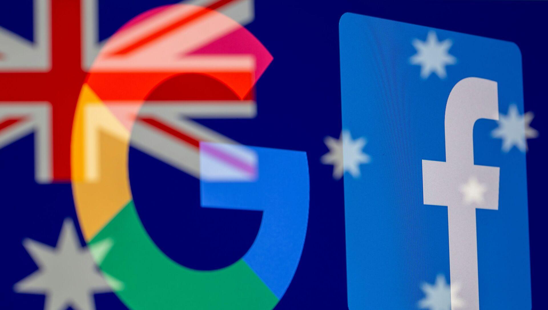 Avustralya bayrağı önünde Google ve Facebook logoları - Sputnik Türkiye, 1920, 19.02.2021