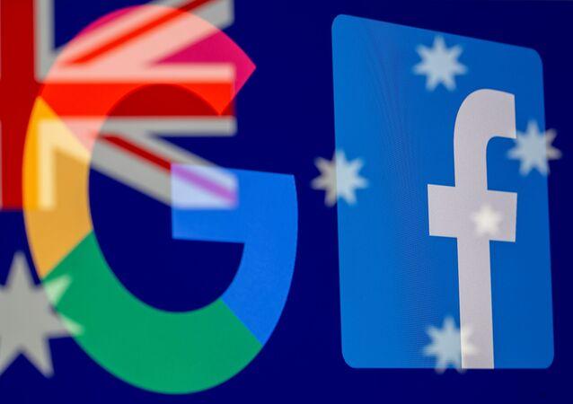 Avustralya bayrağı önünde Google ve Facebook logoları