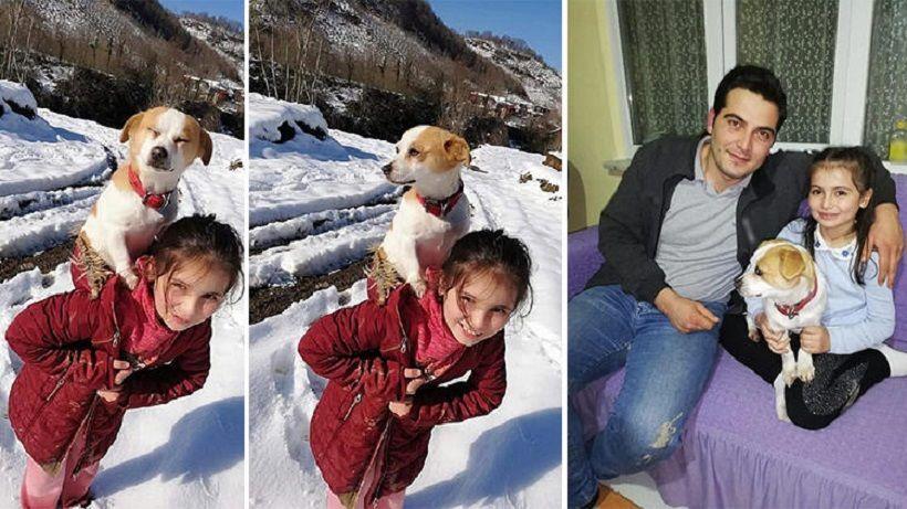 Ordu, köpeğini sırtında taşıyan Cemre ve Veteriner Hekim Ogün Öztürk