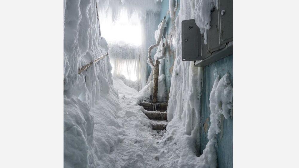Her bir noktası buzla kaplanan kentten görüntüler