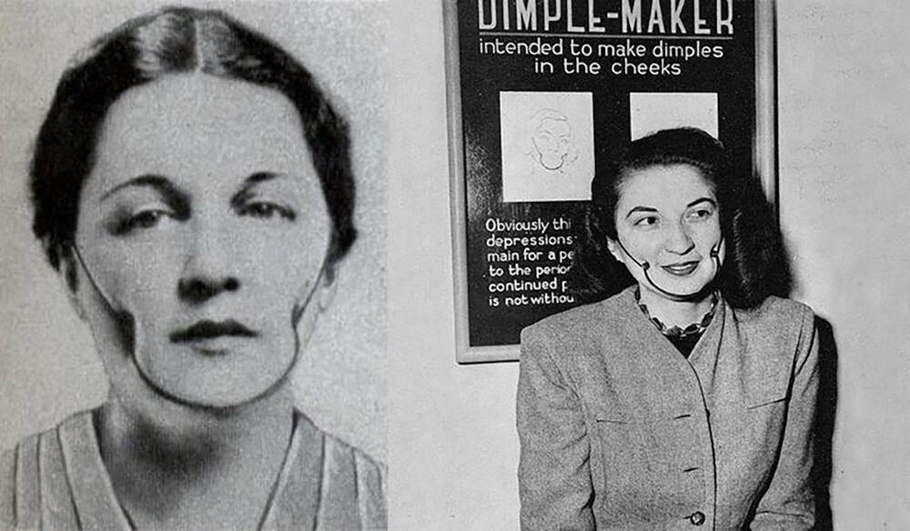 1923'te ABD'de 'gamze aleti' icat edildi. Kulakların ve çenelerin arkasına tutturulmuş çubuklar yardımıyla yanaklarda gamzeler oluşturuluyordu