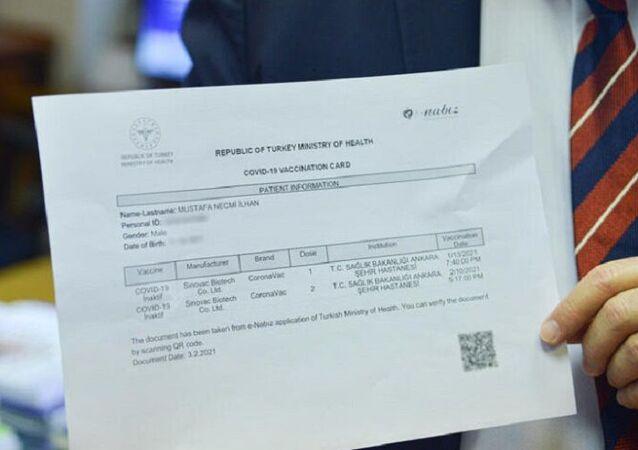 Mustafa Necmi İlhan'ın aşı kartı