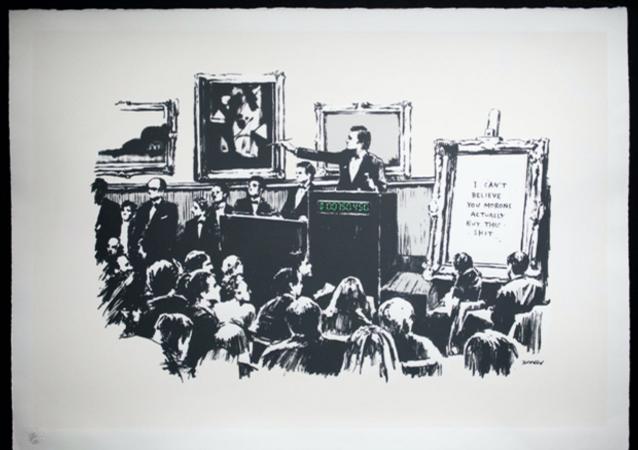 Banksy'nin 2006 tarihli 'Moronlar' isimli siyah-beyaz baskısında bir açık artırma tasvir edilirken, satıştaki tablonun üzerinde Siz moronların gerçekten bu b.ktan şeyi satın alacağınıza inanamıyorum yazıyor. 'Moronlar' artık sadece dijital olarak alınabilecek ve bakılabilecek durumda.