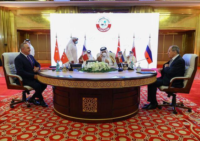 Türkiye-Rusya-Katar Üçlü Dışişleri Bakanları Toplantısı'nın ardından ortak açıklama yayımlandı