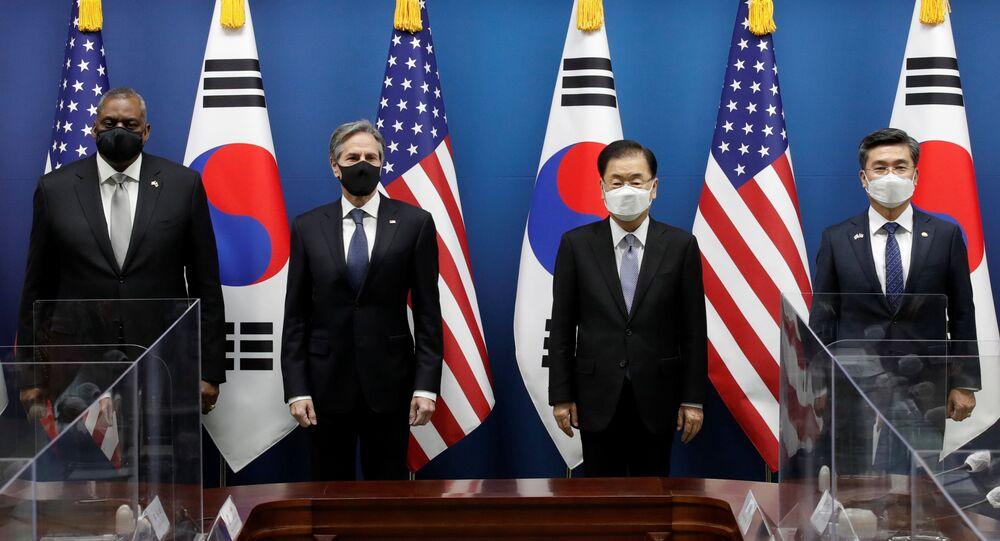 ABD Dışişleri Bakanı Antony Blinken ve Savunma Bakanı Lloyd Austin, Çin'e karşı caydırıcı bir güç oluşturma söylemiyle çıktıkları Hint-Pasifik turlarının Güney Kore durağında dün Güney Kore Dışişleri Bakanı Chung Eui-yong ve Savunma Bakanı Suh Wook ile görüştü.
