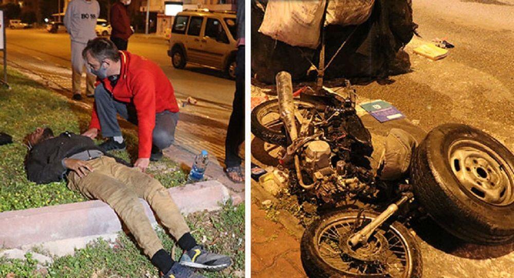 Kağıt toplayan genç dövüldü, motosikleti yakıldı