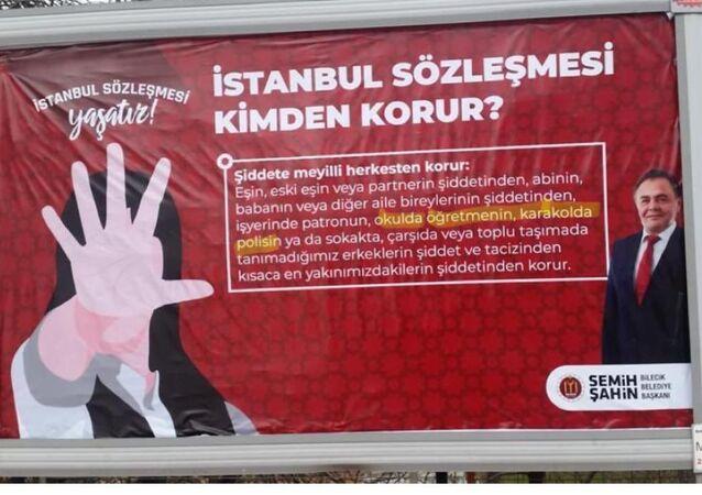 Bilecik'teki billboardlarda yer alan, İstanbul Sözleşmesi afişleri
